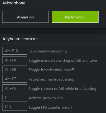 GeForce ShadowPlay push-to-talk hotkey configuration.