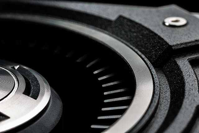 Close-up of the rear-mounted fan of the GeForce GTX 770.