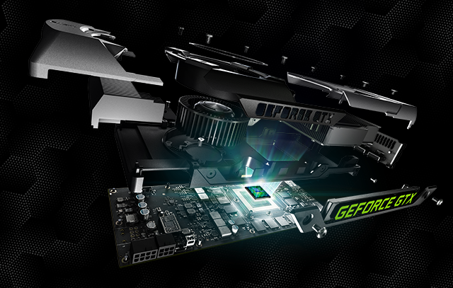 Exploded view of the GeForce GTX 780 graphics card.