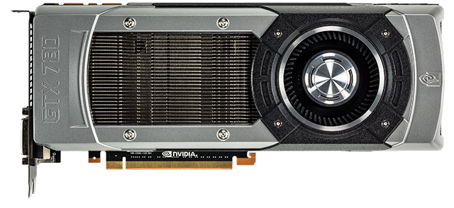 Cast aluminum exterior and nickel-plated headsink fans of the GeForce GTX 780.