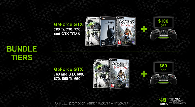 NVIDIA GeForce GTX Holiday Bundle, With NVIDIA SHIELD, Tier Breakdown