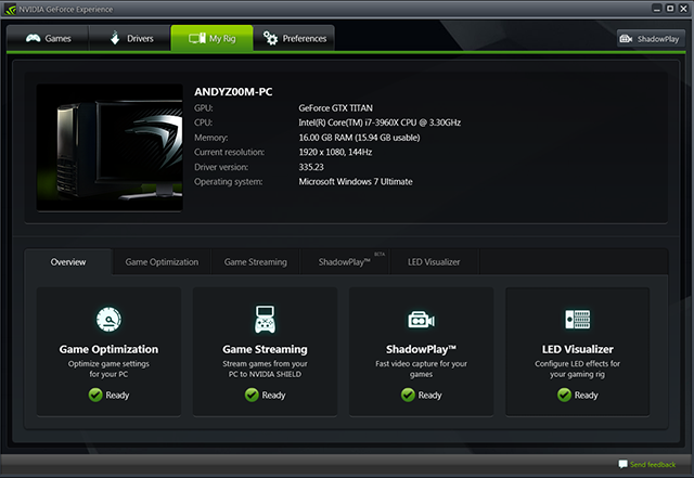 GeForce Experience My Rig Tab