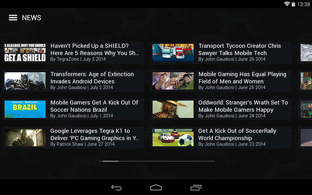 SHIELD Tablet - Get all the latest Android and PC gaming news through the SHIELD Hub News screen