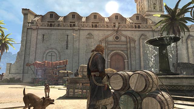 「刺客教條 4: 黑旗 (Assassin's Creed IV: Black Flag)」的 NVIDIA HBAO+ 環境光遮蔽互動比較圖。