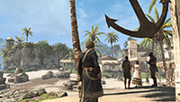 GeForce.com「刺客教條 4: 黑旗 (Assassin's Creed IV: Black Flag)」2x MSAA 對照 4xMSAA 反鋸齒的互動比較圖。