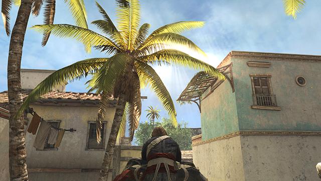 「刺客教條 4: 黑旗 (Assassin's Creed IV: Black Flag)」的 NVIDIA 靈光互動比較圖。