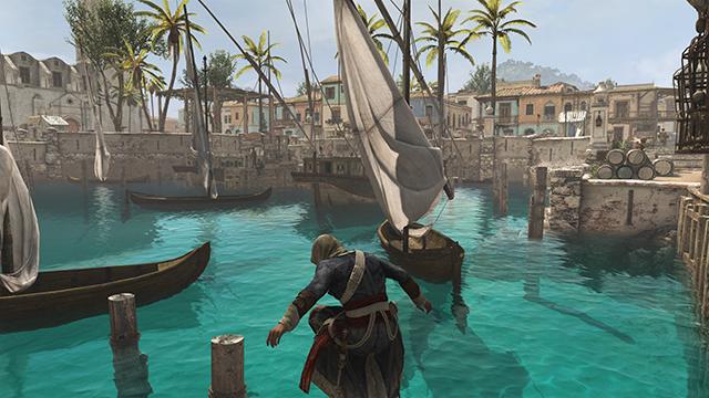 「刺客教條 4: 黑旗 (Assassin's Creed IV: Black Flag)」的反光品質互動比較圖。