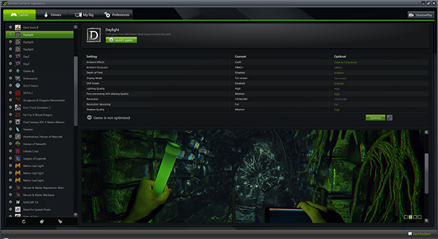Daylight - Optimize with a single click in GeForce Experience