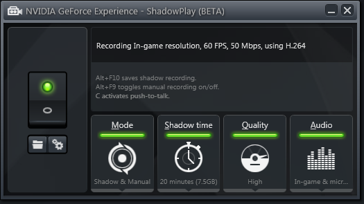 GeForce ShadowPlay configured for Shadow Mode.