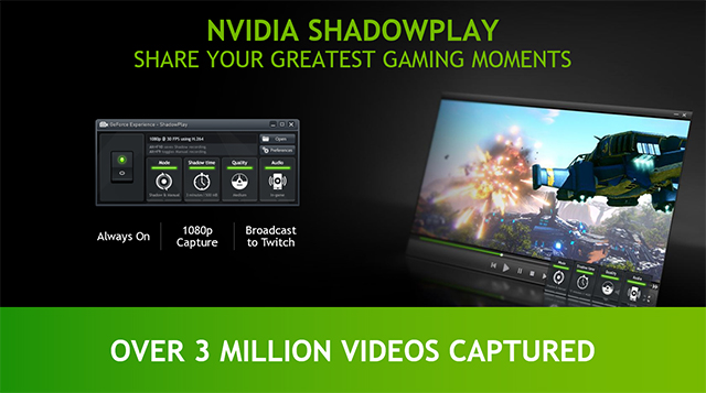 GeForce GTX 750 Class GPUs can capture live gameplay with GeForce ShadowPlay Beta.