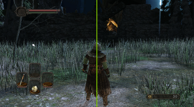 Dark Souls 2 interactive comparison demonstrating the performance benefits of GeForce GTX 980M notebooks.