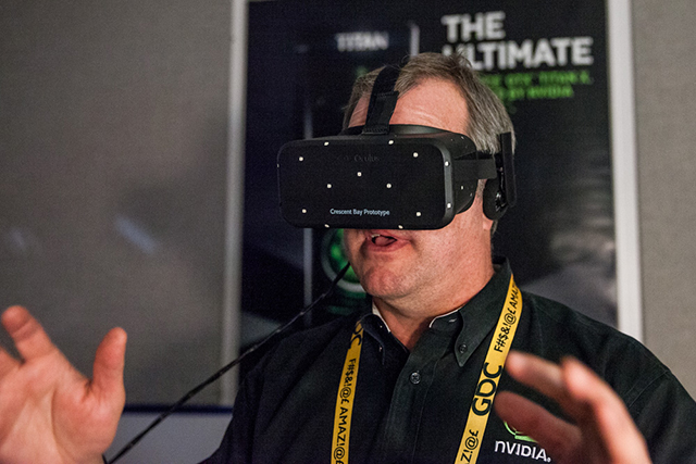 NVIDIA's Tom Petersen experiences the latest VR demos at GDC on Oculus Rift's Crescent Bay Prototype headset, powered by the NVIDIA GeForce GTX TITAN X.