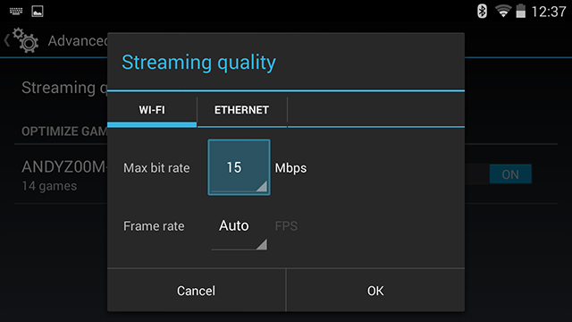 GameStream Quality Controls enable manual control over Wi-Fi and Ethernet streaming,