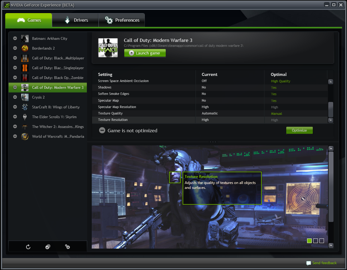 A snapshot of the NVIDIA Experience control panel.