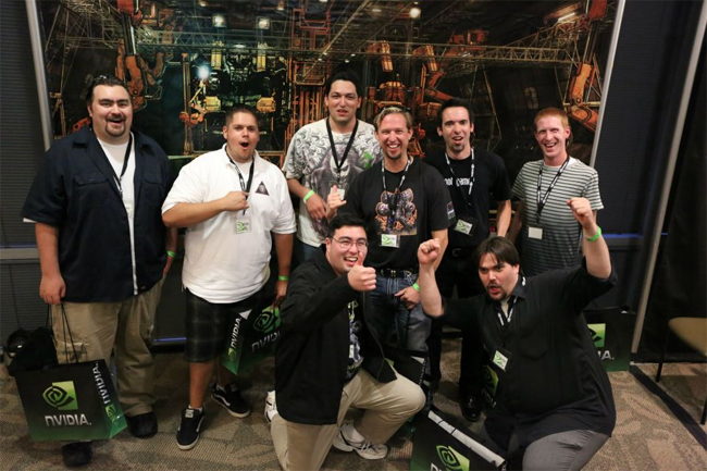 The winning team poses for a victory shot. Each player will receive a GeForce GTX 680.