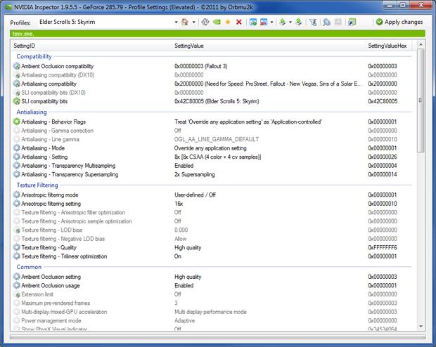 Skyrim NVIDIA Inspector Advanced Settings
