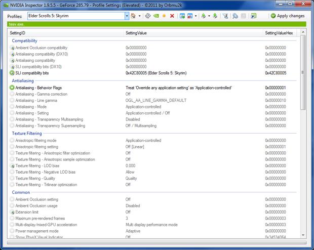 Skyrim NVIDIA DefaultSettings