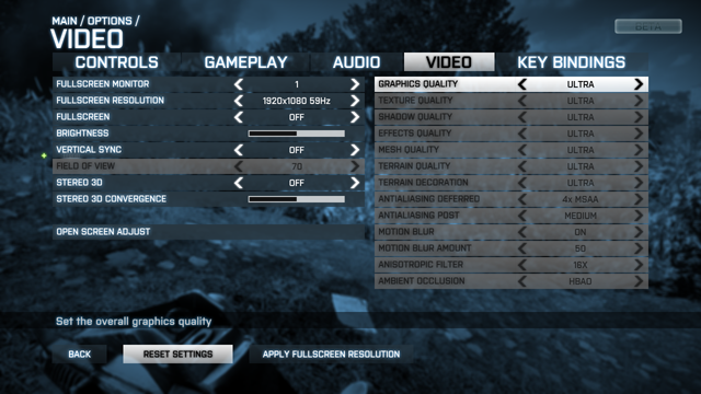 Battlefield 3 Beta Graphics quality options