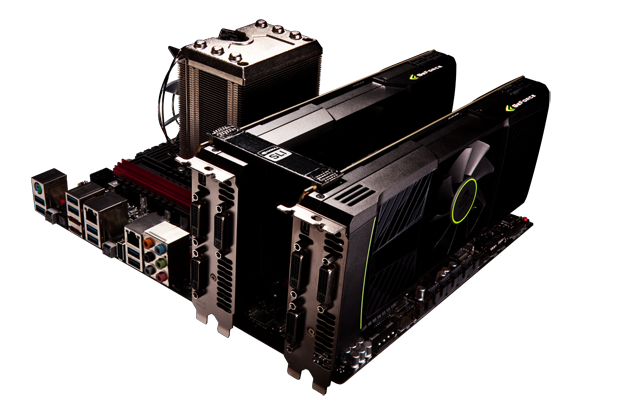 two GeForce GTX 590 graphics cards