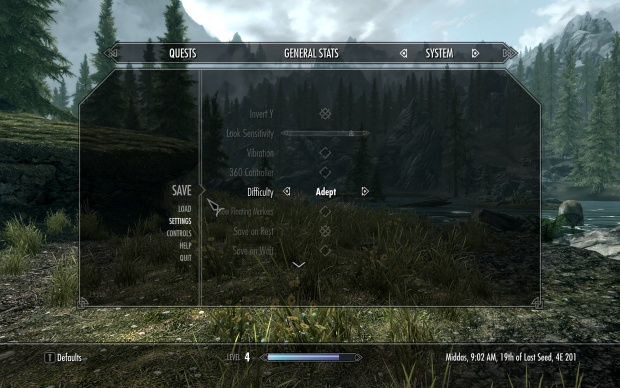 Skyrim InGame Settings
