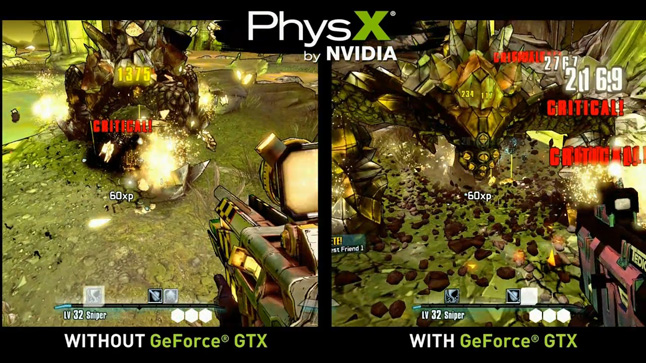 PhysX with and without